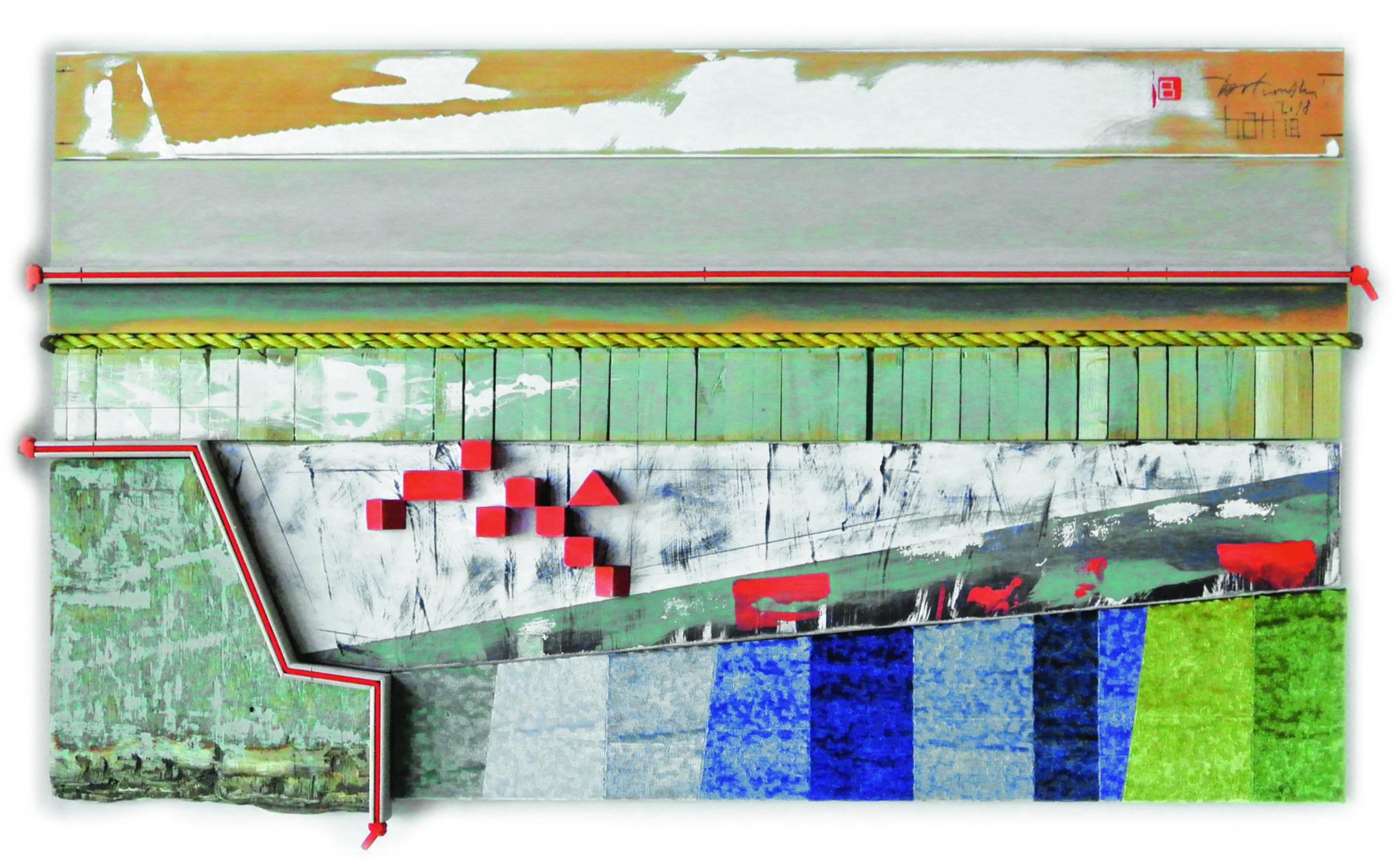 Zielony port, 2018 r., asamblaż, 74 x 120 x 6 cm